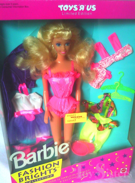 1992 Toys R Us Fashion Brights Collection Barbie Toy Sisters